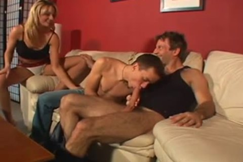 sexy bi raunchy Male+Male+Female on The couch