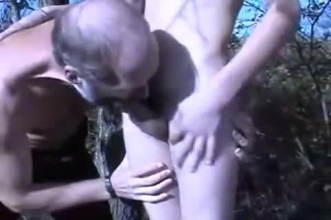 old man banging Younger boy Outdoor