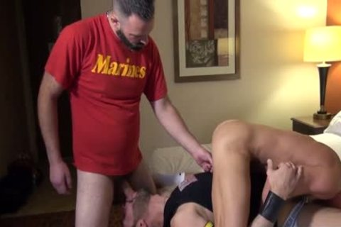 Muscle Bear ass stab With ejaculation