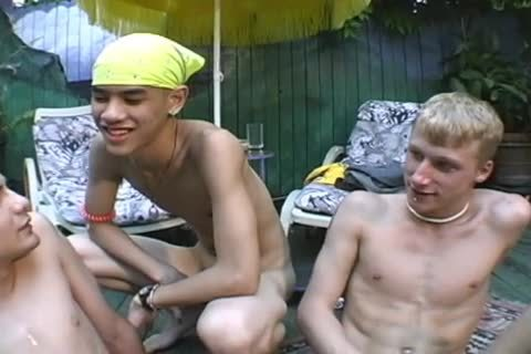 3 boyz AT The Pool in nature's garb oral pleasure