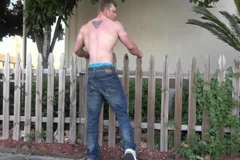 Bodybuilder Posing Outside In underclothing