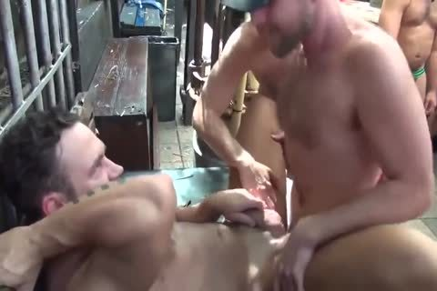 MusclePup Logan Moore gets gang team-drilled Barebacked poke