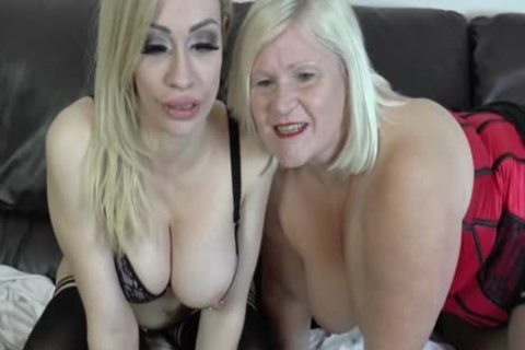 lesbian Gran Eats Out And toys bawdy cleft