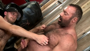 Bear Back: CJ Parker throat fuck outdoors