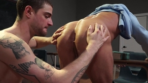 Falcon Studios: Bruce Beckham edging at the office desk