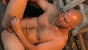 Pride Studios: Bald caucasian brunette helps with nailed rough